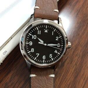 Image 5 - 42mm mens אוטומטי שעון לבן סימן עור עצמי Winding ספורט זכר שעון ספיר חיוג סטרילי SS מכאני שעוני יד