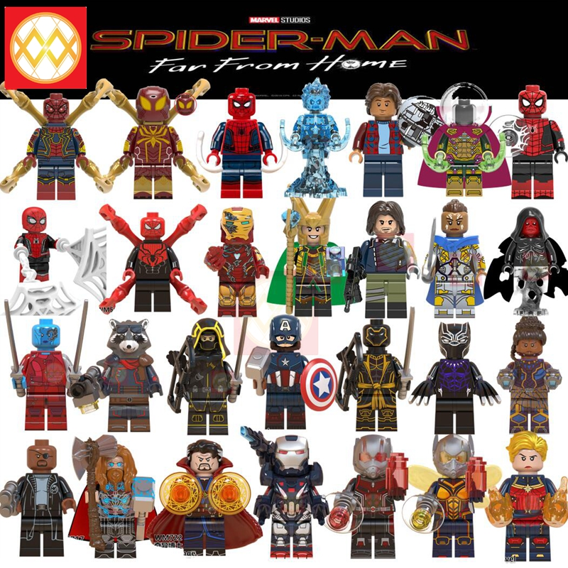 Spiderman Mysterio Iron Man Pepper Thor Ant-Man War Machine Hawkeye Building Blocks Marvel Avengers Superheroes Kids Toys Gift