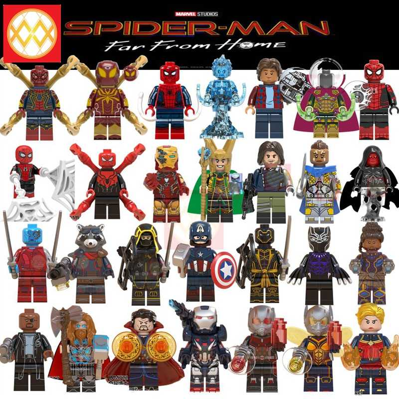 Spiderman Mysterio Iron Man Pepper Thor Ant-Man War Machine Hawkeye Avengers Superheroes Building Blocks Toys For Children Gift