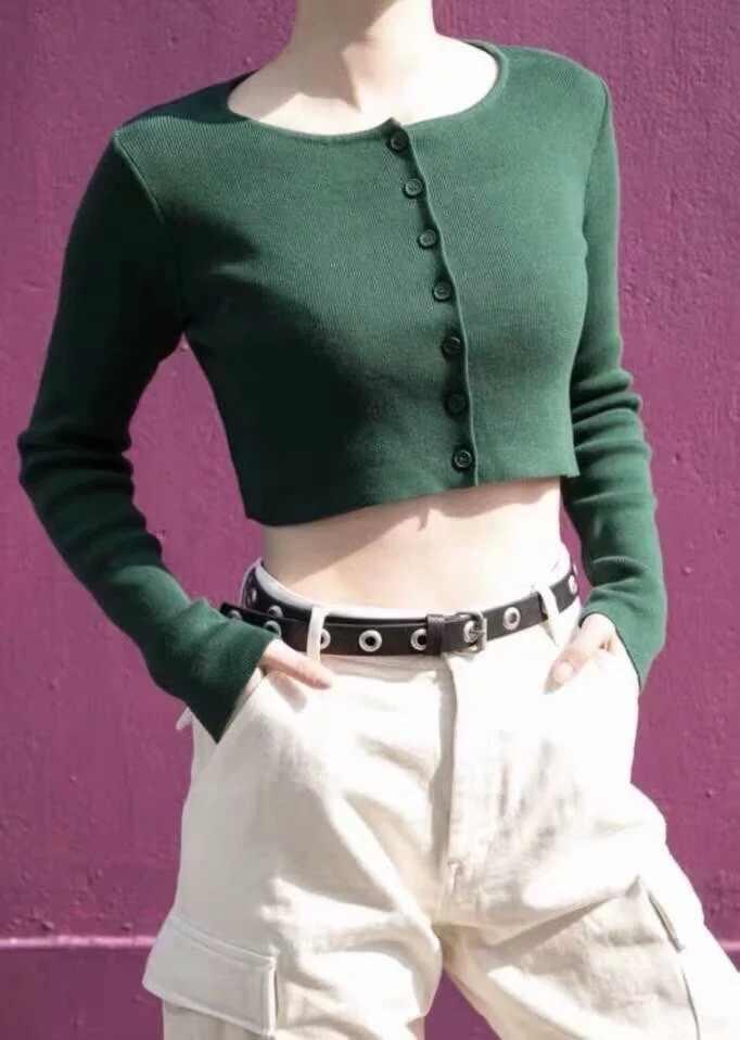 2019 feminino tricô botão único cardigan camisola vintage exposed umbigo curto malhas de manga comprida jumper topos sexy