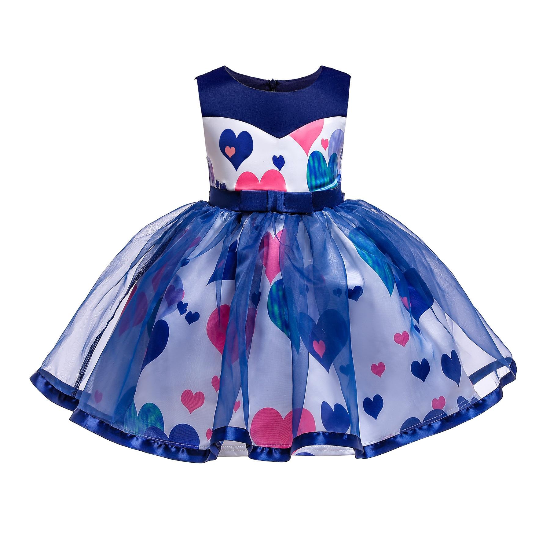 New Style Printed CHILDREN'S Skirt Heart Shape Printed Girls Dress CHILDREN'S Full Dress Tutu Princess Skirt