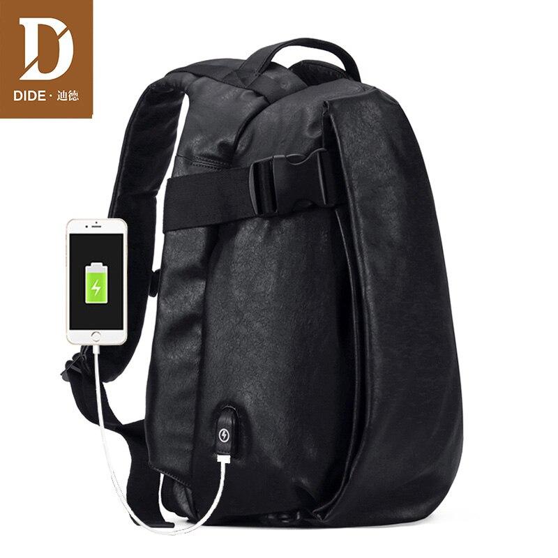 DIDE mochila de gran capacidad de viaje USB de carga impermeable mochila de ordenador portátil de cuero PU bolsa de escuela informal de moda para hombres-in Mochilas from Maletas y bolsas    1