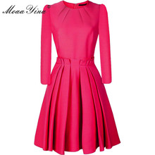 MoaaYina Fashion Designer dress Spring Autumn Womens Dress 3/4 sleeve Slim Elegant Ball Gown Dresses