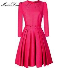MoaaYina robe de créateur de mode printemps automne femmes robe 3/4 manches mince élégant robe de bal robes