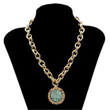 Старинный зеленый камень ожерелье для женщин массивное золото