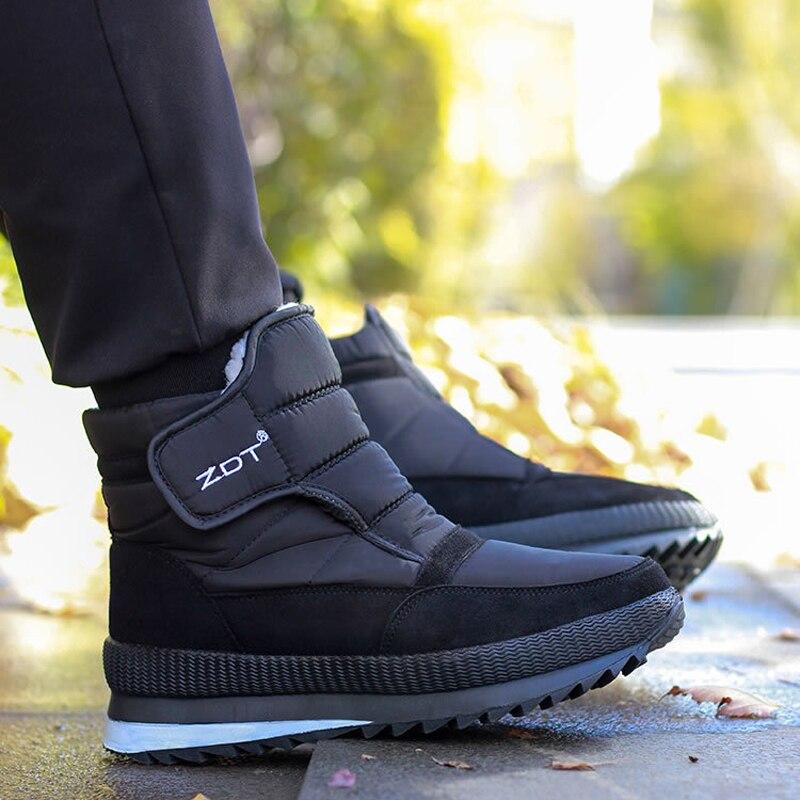 High Quality Men Boots 2019 Winter Shoes Men Ankle Boots Waterproof Non-slip Warm Fur Flat Men Snow Boots Big Size 36-47