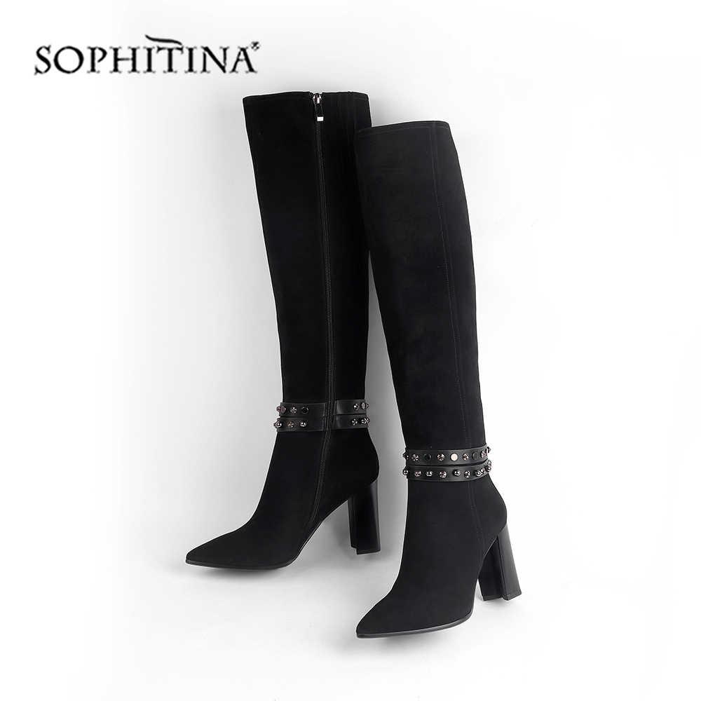 SOPHITINA เซ็กซี่ Pointed Toe รองเท้าสบายคุณภาพสูง KID Suede ส้นใหม่รองเท้าเข่า-สูงผู้หญิงรองเท้า SC461