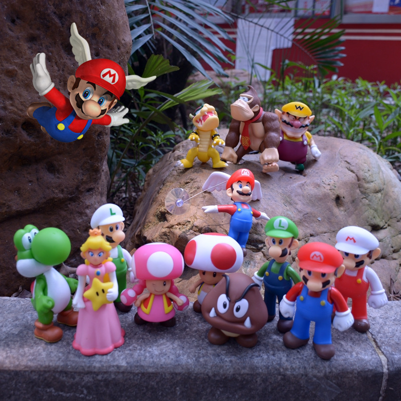 Super Mario Figures Toys Super Mario Bros Bowser Luigi Koopa Yoshi Mario Odyssey PVC Action Figure Model Dolls Toy Kid Gift