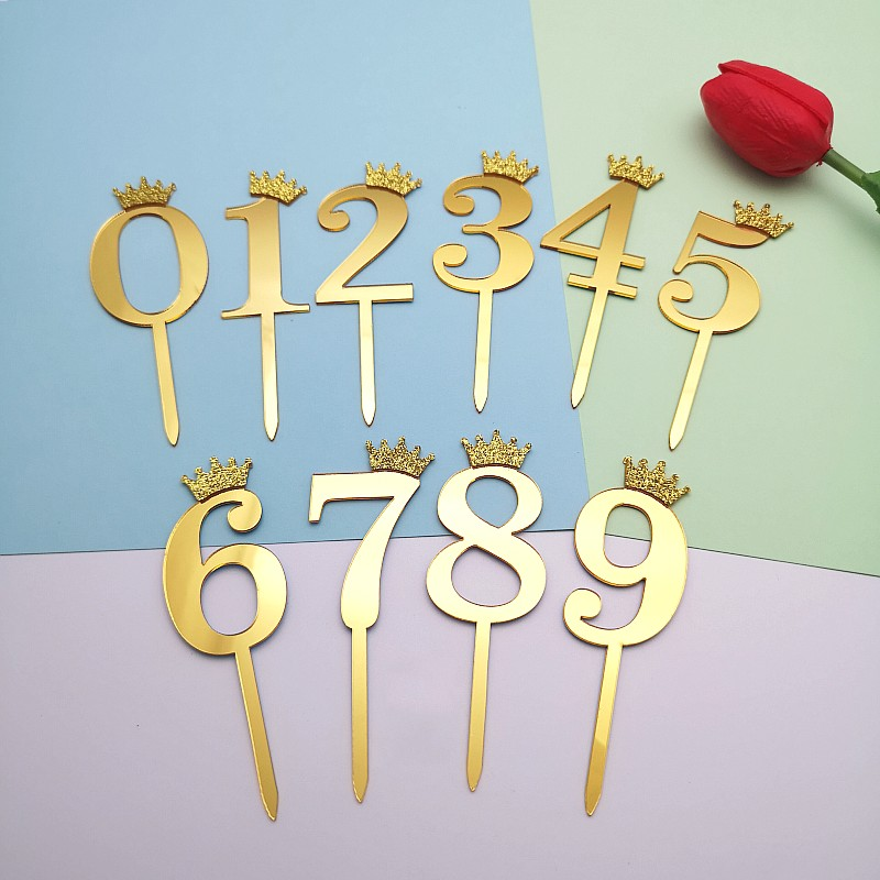 Groovy 0 9 Numbers Cake Toppers Happy Birthday Cute Crown Number Cake Funny Birthday Cards Online Fluifree Goldxyz