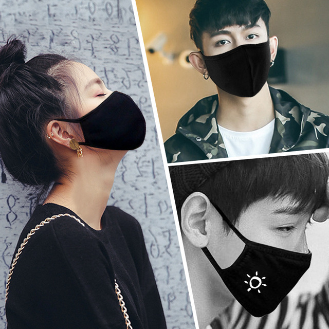 1 pcs Face Mask Washable Black Mask Multi-Style Anime Cartoon Kpop Cotton Mouth Mask Anti dust Mouth-muffle Reusable Mask Unisex 1