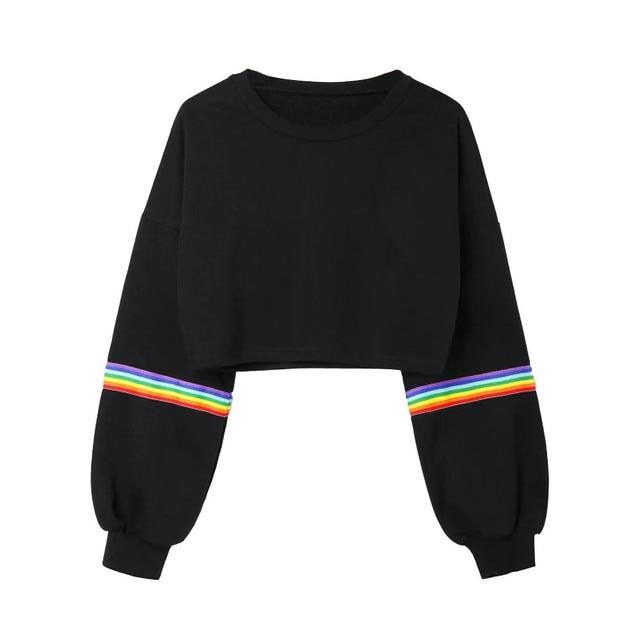 Harajuku Rainbow Striped Patchwork Hoodie Fashion Girls Autumn Long Sleeve O Neck Crop Top Sweatshirts Hip Hop Pullover Blouse