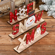 Christmas Decorations Wooden Letters Ornaments Desktop Snowman Printed Ornament Decor Kids Christmas/New year Favors Gift
