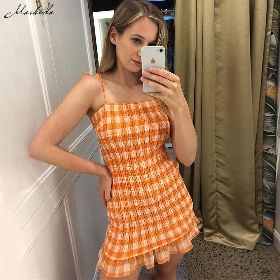 Macheda-Mini vestidos a cuadros naranja para mujer, vestido de tirantes finos ajustable, con volantes, ropa informal para mujer 2019