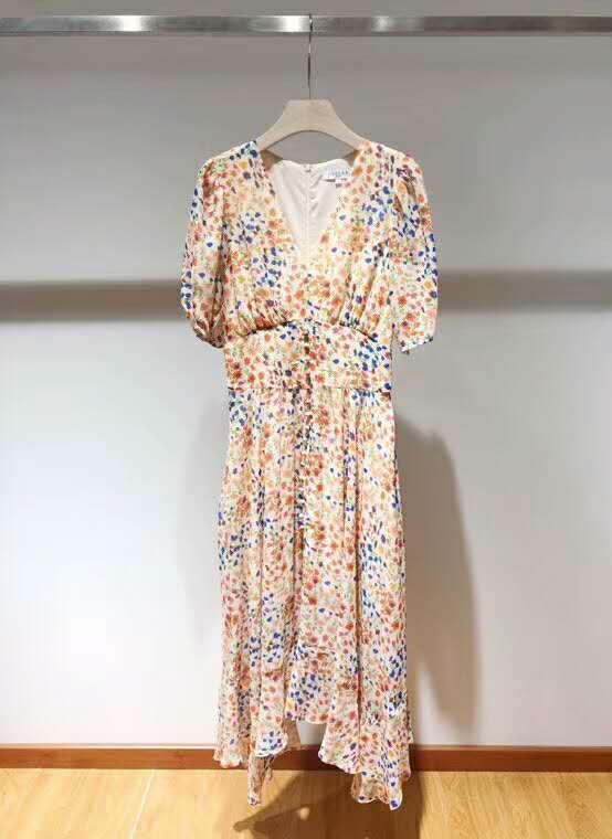 여성 드레스 2019 봄/여름 새로운 꽃 v 목 허리 미디 드레스-에서드레스부터 여성 의류 의  그룹 1
