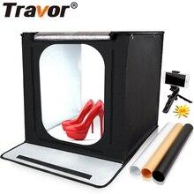 TRAVOR składana podświetlana tablica F40 budka foto Studio miękkie pudełko ze zdjęciami Softbox 3 kolorowe rekwizyty tła na sesja zdjęciowa