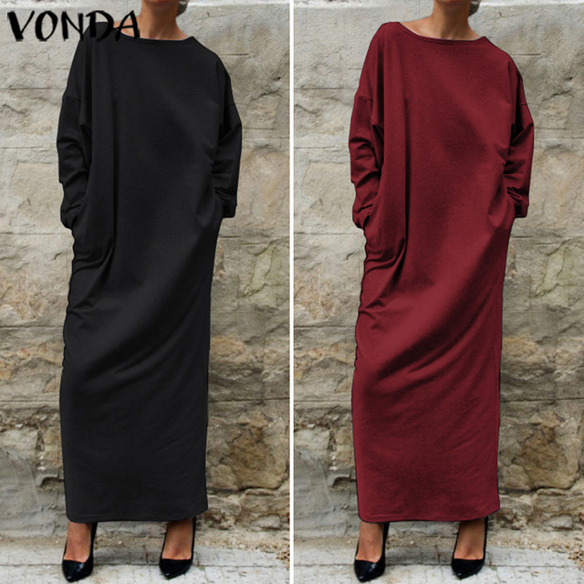 VONDA Women Autumn Long Dress Fashion Round Neck Long Sleeve Shirt Dress 5XL Vestidos Plus Size Robe Femme Women's Tunics 4