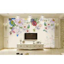 Custom Mural Wallpaper Simple Pastoral Flowers Butterfly Hand Painted Photo Wall Paper Living Room Wedding House Papel De Parede
