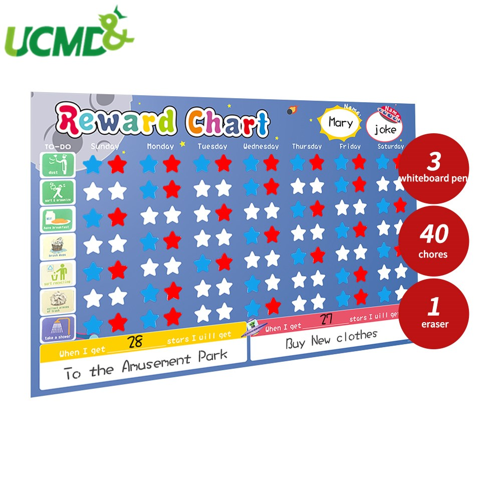60X40CM Magnetic Reward Activity Responsibility Chart Calendar For Multiple Children Educational Learning Weekly Plan Schedule