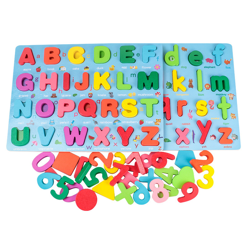 Kids 3D Wooden Puzzle Toys Colorful Number Letter Geometry Shape Cognition Grasp Board Early Learning Educational Montessori Toy 6