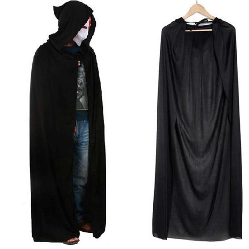 Unisex Hooded Cape Halloween Costume Knight Cloak Black Burgundy Man Women Full Length Hooded Cloaks Cape Coats Vampire 2019