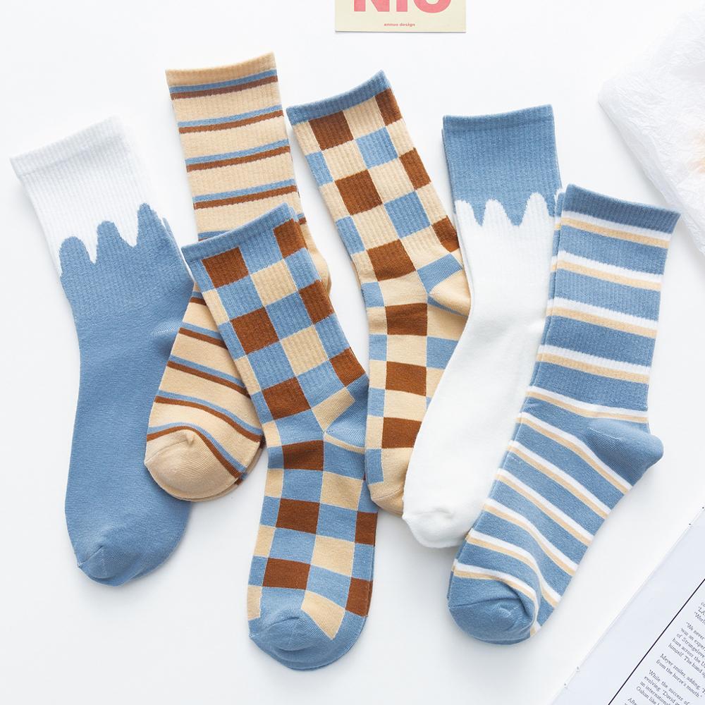 Унисекс картина Стиль женские уличные носки из хлопка, в полоску кавайный/разноцветные нескользящих носочков для женщин, 1 пара, модные носк...
