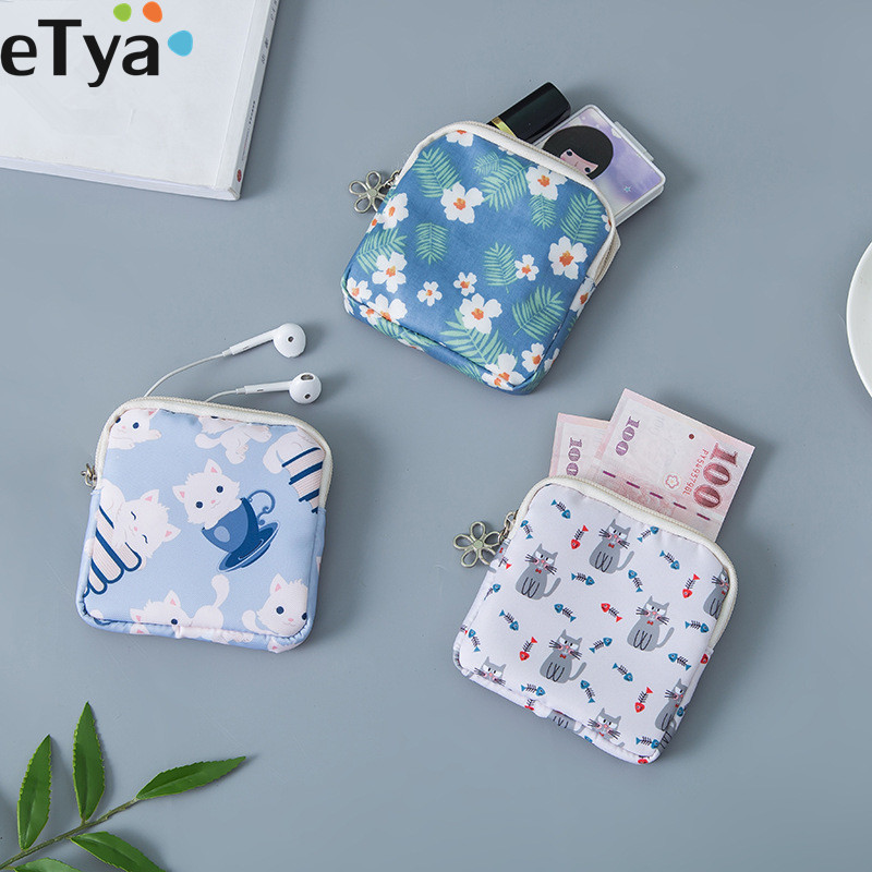 Travel Packing Cosmetic Bags Women Girl Small Cute Coin Card Money Key Lipstick Cosmetic Sanitary Napkin Earphone Storage Bags