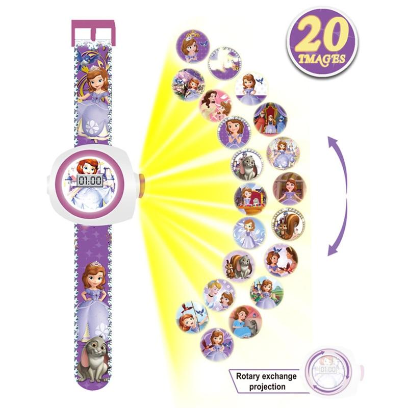 Princess Elsa Spiderman Kids Watches Projection Cartoon Pattern Digital Children watch For Boys Girls Display Clock Relogio