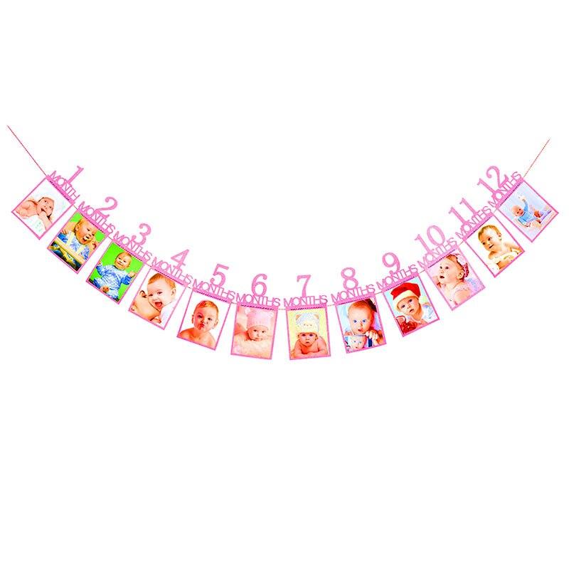 Детский фон на день рождения, занавес, креативный, один год, флажок на день рождения, rideau anniversaire, однотонный, высокое качество, декор для фотосъемки - Цвет: Розовый