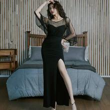 Облегающее длинное платье в горошек Сетчатое лоскутное футляр