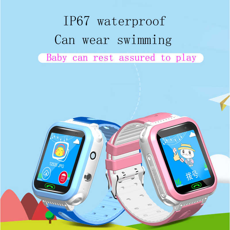 GEJIAN IP67 Waterproof Children's Watch 2G Remote Camera GPS Real-Time Positioning Student Watch SOS Call Monitoring Tracker