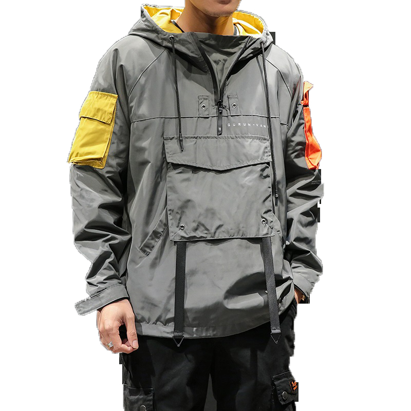 Autumn Half Zipper Pullover Jacket Mens Patchwork Hooded Jackets 2019 Male Windbreaker Streetwear Hoody Waterproof  Coat M-5XL