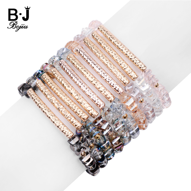 BOJIU Trendy Faceted Crystal Beads Customized Bracelets For Women Adjustable Gold Copper Tube Bracelet Jewelry Wholesale BC341
