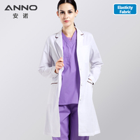 ANNO White Lab Coat Elastic Fabric Doctor Uniform Scrubs Outfit Medical Clothing Long Sleeve Doctor Suit