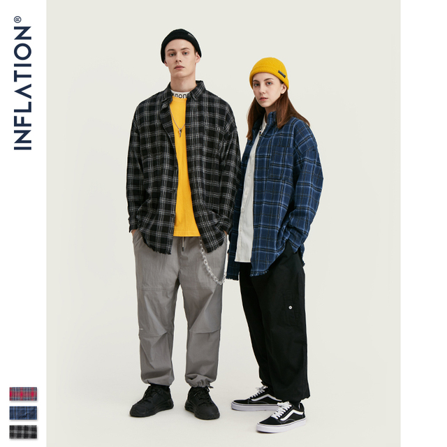 INFLATION Autumn Men Checked Shirt Long Sleeve Oversized Men Plaid Shirt Streetwear Mens Fashion Loose Fit Cotton Shirt  004W17