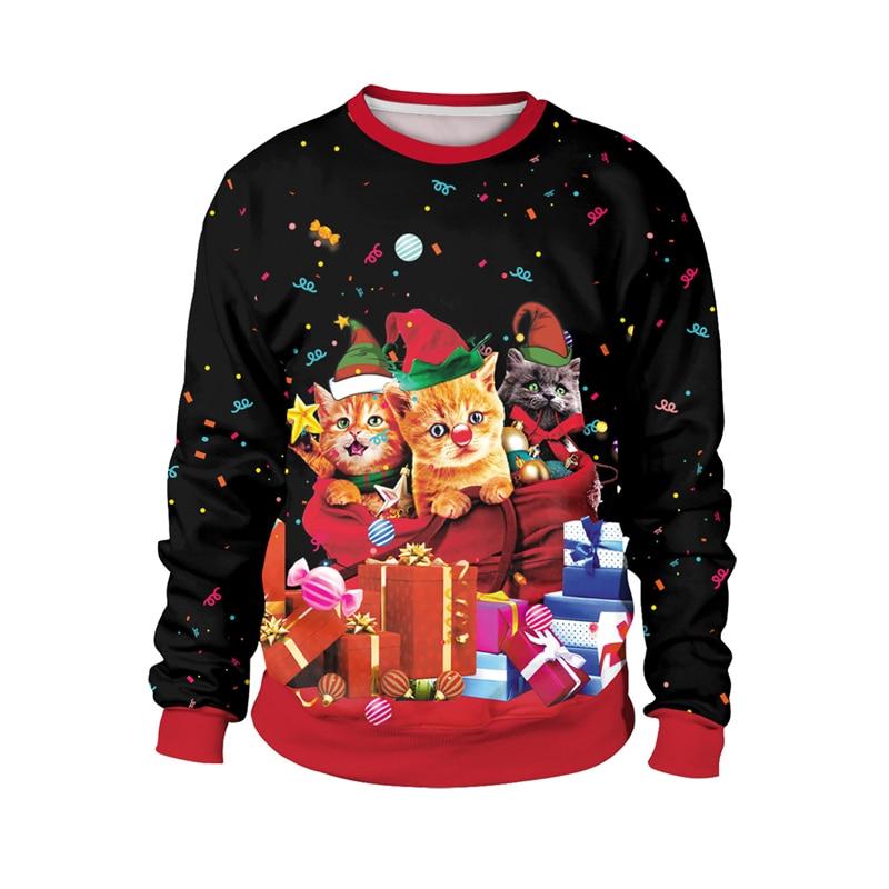 Cute Cat Print Meowy Christmas Sweatshirt For Women And Men Funny Pullover Crewneck Meowy Catmas Sweatshirts Plus Size