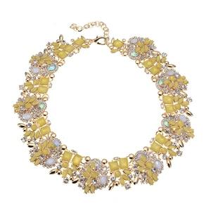 Image 4 - JEROLLIN 4 Colors Glass Rhinestone Flower Necklaces Women Fashion Crystal Jewelry Charm Choker Statement Bib Collar Necklace