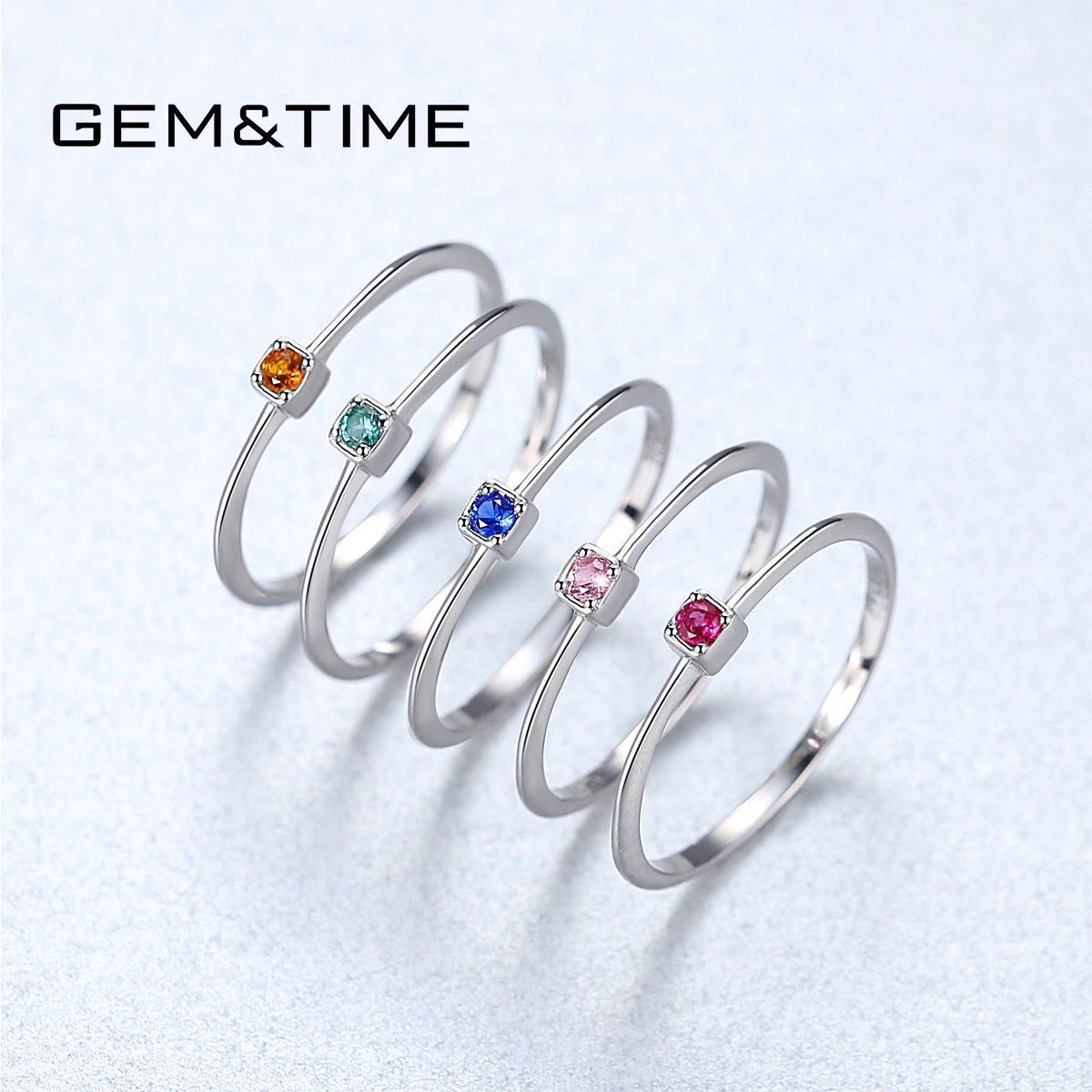 Gem&Time 100% 925 Sterling Silver Colorful VVS Topaz Solitaire Ring For Women Gemstone Stackable Rings Jewelry Anillos Mujer