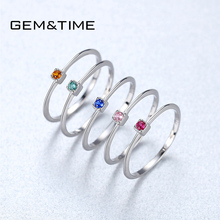 Gem&Time 100% 925 Sterling Silver VVS Colorful Topaz Solitaire Ring For Women Gemstone Stackable Rings Jewelry Anillos Mujer