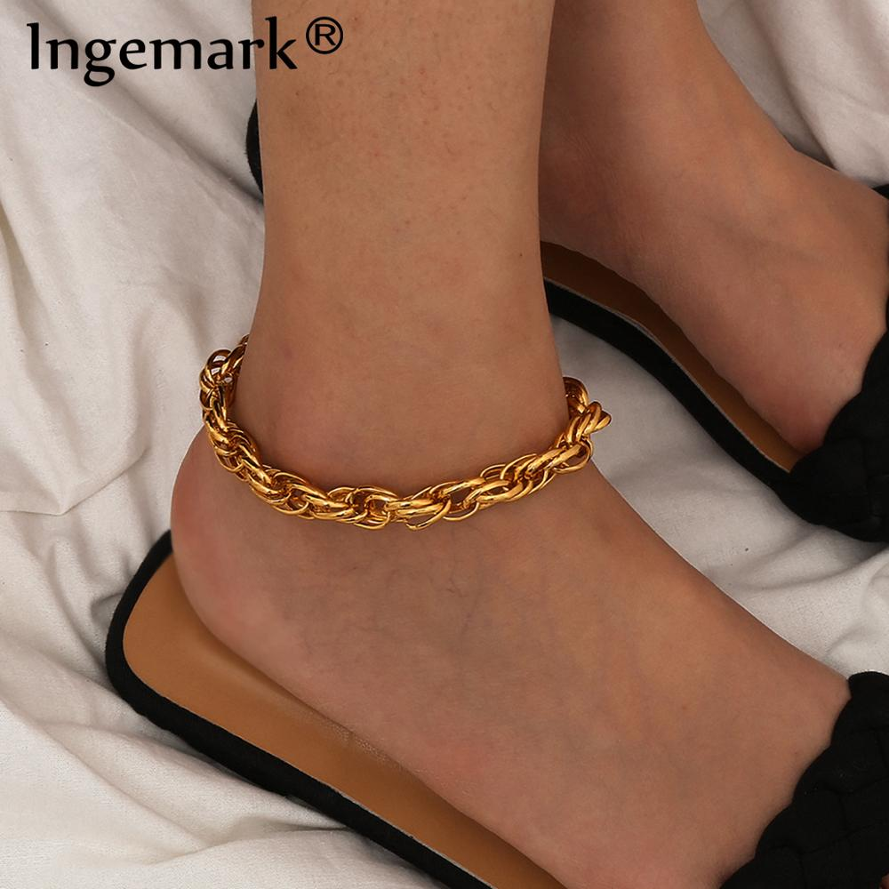 Boho Summer Beach Twisted Cuba Link Chain Anklet Bracelet for Women Men Punk Gold Color Shoe Sandals Accessories Foot Jewelry