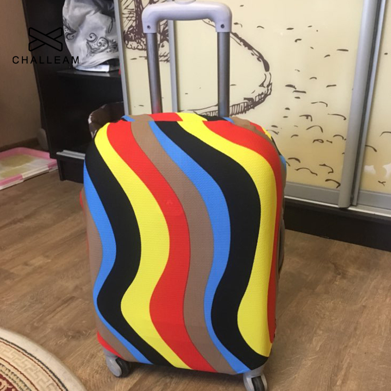 Cute 3D Wave Pattern Luggage Protector Travel Luggage Cover Trolley Case Protective Cover Fits 18-32 Inch