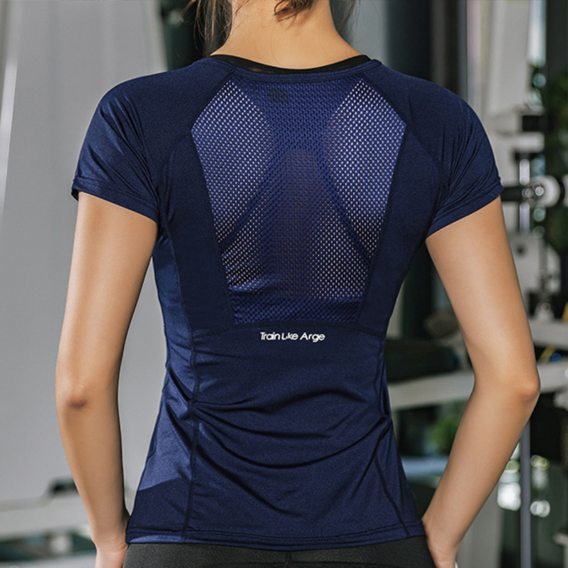 Quick Dry Short Sleeve Sports T-Shirt Gym Clothes Yoga Shirt Workout Tops For Women Fitness