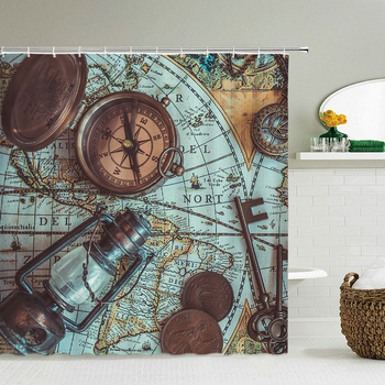 Retro Old Compass Map Nautical Shower Curtains Waterproof Fabric 3d Bathroom Curtain With Hooks Decoration 240X180 Bath Screen image