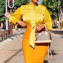 Spring 2021 NEW Satin Blouse Women Tops Fashion Solid Yellow Pink Plus Size Blouses 3XL Office Ladies Casual Shirt Oversized