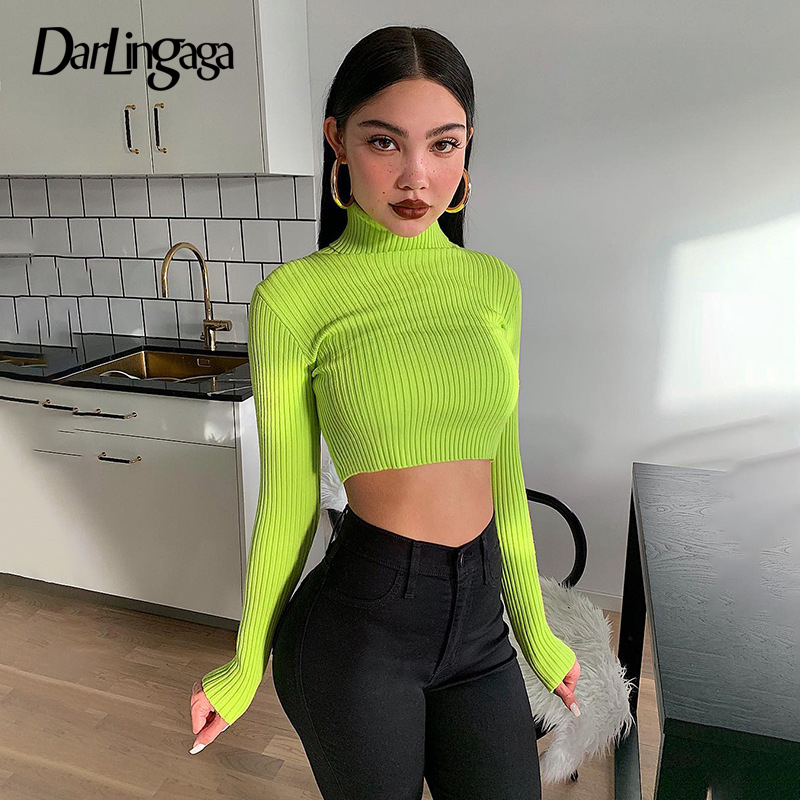 Darlingaga Fashion Neon Knitted Sweaters Pullovers Basic Bodycon Turtleneck Sweater Women New 2019 Crop Tops Autumn Pull Femme