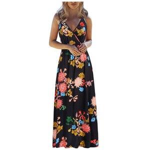 Maxi Dress Women's Sexy V-neck Sling Long Boho Dress Party Dress Vestidos De Verano Платья Больших Размеров Ropa Mujer