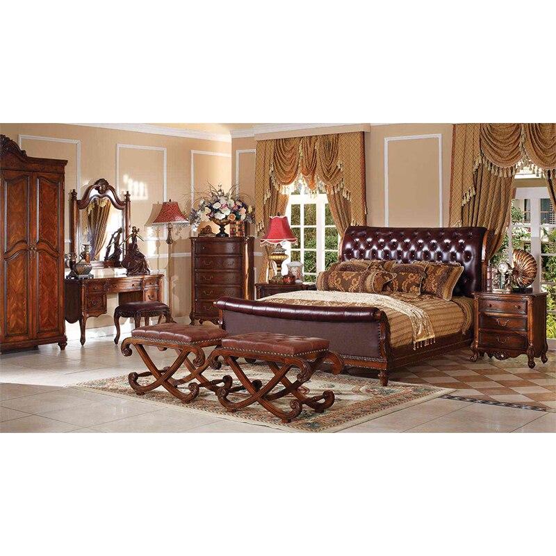 Legant estilo europeo antiguo King bed, juegos de dormitorio de cuero Skóra sypialnia zestawy GH06 4 pósteres de cama rosa, dosel para cama de princesa Queen, mosquitera, tienda de cama, cortina de cuatro esquinas de largo hasta el suelo de 1,5x2 m # WW