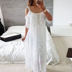 Image 5 - 2020 כותנה טלאי תחרה חוף שמלה ארוכה חוף כיסוי למעלה Vestido בגד ים כיסוי ups plage סרונג חלוק דה Plage טוניקת # Q689
