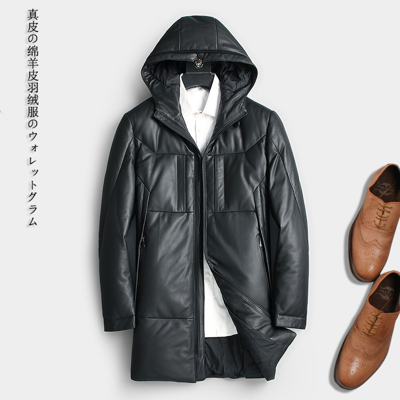 Genuine Leather Jacket Men Winter Sheepskin Coat Men's Down Jacket Long Hooded Jackets Chaqueta Cuero Hombre 218C KJ1286
