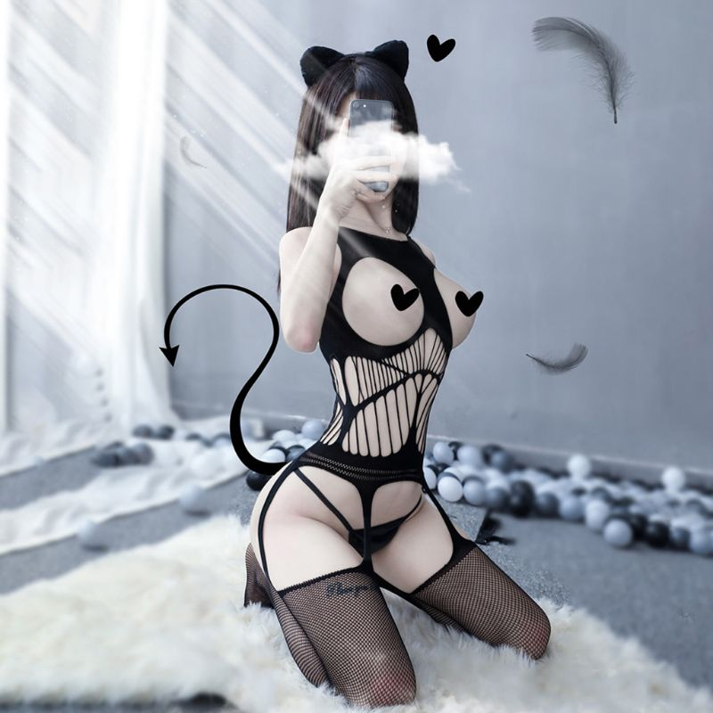 Fishnet Bodysuit Lingerie Lace Open-Crotch Mesh Sexy Topless Off-Shoulder Women New Perspective