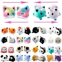 Двусторонние плюшевые флип-игрушки, животные, кошка, собака, единорог, панда, двухсторонние, злые, двусторонние, Счастливая кукла, блестящие,...